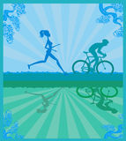 marathon runner and cyclist race Royalty Free Stock Image
