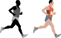Marathon runner,detailed illustration. Vector Royalty Free Stock Photography