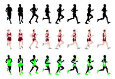 Marathon runner. In eight steps silhouettes and illustration Stock Photos