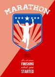Marathon Runner Finish Run Poster. Poster greeting card illustration showing a silhouette of Marathon runner flashing victory sign done in retro style with Stock Images