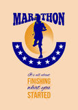 Marathon Runner Finishing Retro Poster. Poster greeting card illustration showing marathon triathlete runner running done in retro style with words Marathon, it' Royalty Free Stock Photo