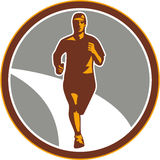 Marathon Runner Front Circle Retro Stock Images