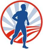 Marathon runner jogger sunburst road Royalty Free Stock Photography