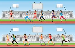Marathon runner men and women on running race track with crowd i. N stadium grandstand, sport and competition vector illustration vector illustration