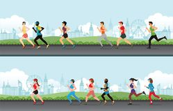 Marathon runner men and women on the street. Marathon runner men and women on the street, sport and competition vector illustration Royalty Free Stock Image