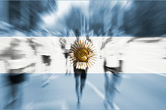 Marathon runner motion blur with blending  Argentina flag Royalty Free Stock Photos