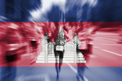 Marathon runner motion blur with blending  Cambodia flag Royalty Free Stock Photography