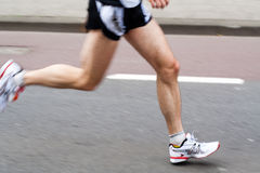 Marathon runner, panning effect Stock Photo