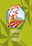 Marathon Runner Race Track Retro Poster Stock Photo