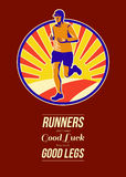 Marathon Runner Retro Poster Royalty Free Stock Photo