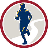 Marathon Runner Running Circle Retro Stock Photography