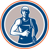 Marathon Runner Running Circle Retro Stock Images