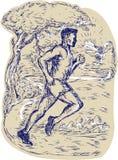 Marathon Runner Running Drawing Royalty Free Stock Image