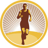 Marathon Runner Running Front Circle Retro Stock Photo