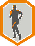 Marathon Runner Running Front Shield Retro Stock Photo