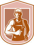 Marathon Runner Running Shield Retro Royalty Free Stock Photography