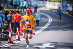 Marathon Runner. Running to the finishing royalty free stock photos