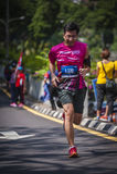Marathon Runner. Running to the finishing royalty free stock photography