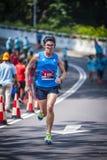 Marathon Runner. Running to the finishing stock image