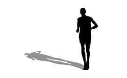 Marathon runner silhouette with shadow on white Royalty Free Stock Photo