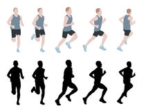 Marathon runner. Silhouettes and illustration Stock Image