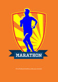 Marathon Runner Starting Run Retro Poster Stock Image