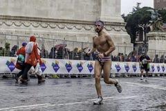 Marathon runner in swimsuit Royalty Free Stock Photos