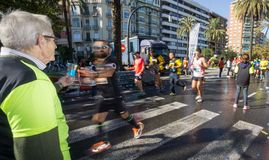 Marathon runner ultra wide angle view royalty free stock photography