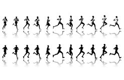 Marathon runner - vector. Marathon runner in 11 continuous steps - vector royalty free illustration