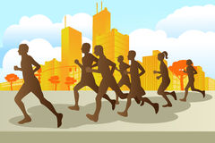 Marathon runners. A illustration of marathon runners in the city royalty free illustration