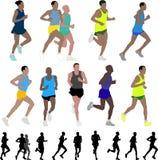 Marathon runners. Collection of marathon runners - illustration Stock Photos