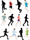 Marathon runners. Collection of marathon runners - illustration Royalty Free Stock Photos