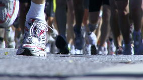 Marathon runners stock video footage