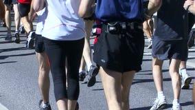 Marathon runners stock video