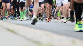 Marathon runners stock footage