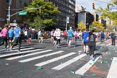 Marathon runners along first avenue in the NYC marathon 2016 Stock Photo