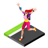 Marathon Runners Athletic Training Working Out Gym. Runners Running. Athletics race Working Out for international championship competition. 3D Flat Isometric Stock Images
