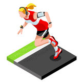 Marathon Runners Athletic Training Working Out Gym. Runners Running Athletics race Working Out for international championship. Competition. 3D Flat Isometric Royalty Free Stock Images