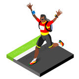 Marathon Runners Athletic Training Working Out Gym. Runners Running Athletics race Working Out for international championship Royalty Free Stock Image