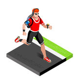 Marathon Runners Athletic Training Working Out Gym. Runners Running Athletics race Working Out for international championship comp. Etition. 3D Flat Isometric Royalty Free Stock Image