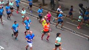 Marathon Runners In Barcelona Spain stock video