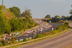 Marathon Runners Bridge Highway Stock Images