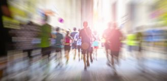 marathon runners in the city royalty free stock images