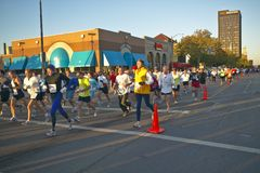 Marathon runners in Columbus Ohio Stock Photos