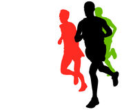 Marathon runners with copy space. Marathon runners with space for text - vector Stock Photos