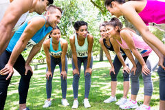 Marathon runners discussing in park Royalty Free Stock Image