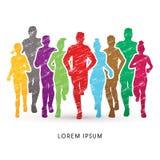 Marathon Runners graphic. Marathon Runners art graphic vector Royalty Free Stock Images