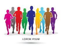 Marathon Runners graphic vector. Royalty Free Stock Image