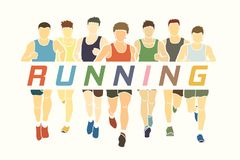 Marathon runners, Group of Men running with text running Stock Image