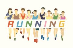 Marathon runners, Group of Men and Women running with text running Royalty Free Stock Photography